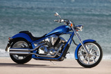 Motorcycle, Honda, Cruiser, Blue, Sea in the Background, Side Standard Right Photographic Print by  Fact