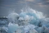 Ice, Icebergs, Black Lava Beach, Glacier Lagoon, Jškulsarlon, South Iceland Photographic Print by Julia Wellner