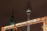 Germany, Berlin, Dusk, Alexanderplatz, Christmas Market Photographic Print by Catharina Lux