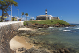 Brazil, Salvador Da Bahia, District Barra, Fort, Lighthouse, Rock Coast, Sea Photographic Print by Chris Seba