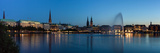 Hamburg, Panorama, the Inner Alster, Dusk Photographic Print by Catharina Lux
