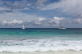 The Seychelles, La Digue, Anse Coco, Two Catamaran Yachtsmen Photographic Print by Catharina Lux