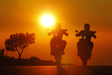Motorcycles, Funbikes, Husquarna Nuda 900R and Ktm 990 Smc, Back Light, Sundown, Country Road Photographic Print by  Fact