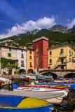 Italy, Veneto, Lake Garda, Cassone Di Malcesine, Harbour Against Monte Baldo Photographic Print by Udo Siebig