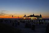 Germany, the Baltic Sea, Island Usedom, Ahlbeck, Pier, Evening Mood Photographic Print by Chris Seba