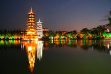 China, Guilin at Night, Double Pagoda 'Riyue Shuang Ta' Photographic Print by Catharina Lux