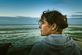 Germany, Schleswig-Holstein, Amrum, Sandy Beach, Sandbank, Kniepsand, Woman, Portrait, Side View Photographic Print by Ingo Boelter