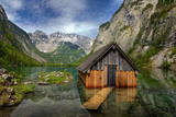 Obersee, Hut, Lake, Reflection, Alps, National Park Berchtesgaden, Germany Photographic Print by Dave Derbis