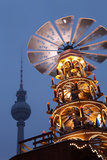 Germany, Berlin, Dusk, Alexanderplatz, Christmas Market, Pyramid, Television Tower Photographic Print by Catharina Lux