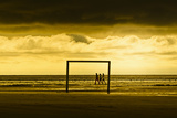 Germany, Schleswig-Holstein, Amrum, Sandy Beach, Sandbank, Kniepsand, Stroller, Evening Mood Photographic Print by Ingo Boelter