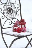 Chair in the Snow with Lantern, Balls from Cord Material Photographic Print by Andrea Haase