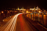Moscow, Traffic on the Moskva Shore, Kremlin, at Night Photographic Print by Catharina Lux