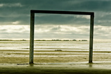 Germany, Schleswig-Holstein, Amrum, Sandy Beach, Sandbank, Kniepsand, Wooden Gate Photographic Print by Ingo Boelter