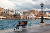 Greece, Crete, Chania, Venetian Harbour, Waterside Promenade, Bench Photographic Print by Catharina Lux