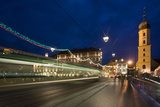 Austria, Styria, Graz, City, Church, Main-Bridge, Blurred, Evening-Mood Photographic Print by Rainer Mirau