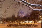 Germany, Berlin, View on Berlin Cathedral, Night, Snow Photographic Print by Catharina Lux