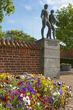 Denmark, Roskilde, Flowerbed, Pansies, Monument in Front of the Cathedral Photographic Print by Chris Seba