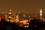 Egypt, Cairo, Islamic Old Town, Minarets, Illuminated Photographic Print by Catharina Lux