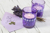 Lavender, Blossoms, Envelope, Four-Leafed Clover, Candles Photographic Print by Andrea Haase