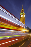 Street Scene, Double-Decker Bus, Light Trails, Motion Blur, Big Ben Photographic Print by Rainer Mirau
