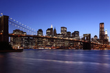 USA, New York City, Manhattan, Brooklyn Bridge, View from Brooklyn, Evening Photographic Print by Catharina Lux