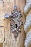 Wooden Door, Door Handle, Close-Up Reprodukcja zdjęcia autor Frank Lukasseck