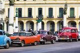 Vintage Car in Front of Colonial Building, Havana, La Habana, Cuba, the Republic Cuba Photographic Print by P. Kaczynski