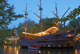 Denmark, Copenhagen, Amusement Park Tivoli, Sailing Ship, Historical, Replica, Illuminated, Evening Photographic Print by Chris Seba