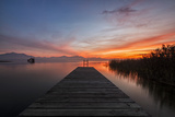 Germany, Bavaria, Lake Chiemsee, Sunset with Stšttham Photographic Print by Dieter Meyrl