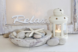 Decoration, White, Window Frame, Lettering, Relax, Lantern, Candle, Bowl, Stones, Starfish Photographic Print by Andrea Haase