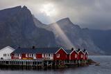 Rorbuer, Hut, Fjord, Sunray, Navaren, Tennestinden, Lofoten, Norway Photographic Print by Dave Derbis