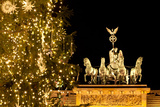 Germany, Berlin, the Brandenburg Gate, Christmas Tree, Night Photographic Print by Catharina Lux