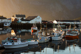 Boats, Harbour, Fjord, Sundown, Hamnoya, Moskenesoya, Lofoten, Northern Country, Norway Photographic Print by Dave Derbis