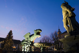 Austria, Carinthia, Klagenfurt, Lindwurm-Fountain, Twilight Photographic Print by Rainer Mirau