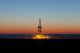 Europe, Germany, Lower Saxony, Deep Drilling Plant, Sunrise Photographic Print by Chris Seba