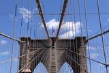 USA, New York City, Manhattan, Brooklyn Bridge, Bridge Pillar, Steel Ropes Photographic Print by Catharina Lux