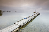 Jetty, Lake, Morning Fog, Stormy Atmosphere Photographic Print by Frank Lukasseck