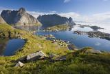 Scandinavia, Norway, Lofoten, Moskenesoey, Pure, Mountains, Fisher-Place, Panorama Photographic Print by Rainer Mirau