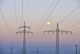 High-Tension Line, Moon, Dusk, Bavaria, Germany Photographic Print by Raimund Linke