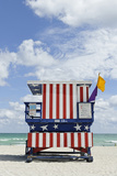 Beach Lifeguard Tower '13 St', with Paint in Style of the Us Flag, Miami South Beach Photographic Print by Axel Schmies