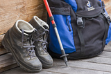Walking Boots, Backpack, Hiking Sticks Photographic Print by Rainer Mirau
