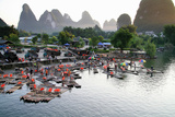 China, Yulong River with Karst Mountains, Tourism, Raft River Journeys Photographic Print by Catharina Lux
