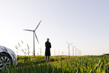 Landscape, Woman, Wind Turbines, Wind Power Station, Wind Park Photographic Print by Axel Schmies