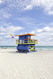 Beach Lifeguard Tower '35 St', Atlantic Ocean, Miami South Beach, Florida, Usa Photographic Print by Axel Schmies