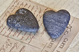Heart Made of Stones with Old Postcard Photographic Print by Uwe Merkel