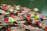 China, Li River, Rafts with Colourful Sunshades Photographic Print by Catharina Lux