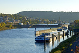 Germany, Rhineland-Palatinate, the Moselle, Grevenmacher, Sluice, Barges, Evening Light Photographic Print by Chris Seba