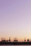Harbour Cranes in Front of Cloudless Heaven, Dusk, Hanseatic City Hamburg Photographic Print by Axel Schmies