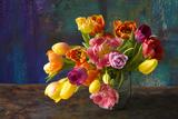 Coloured Tulip Bouquet in Handle Vessel Photographic Print by Brigitte Protzel