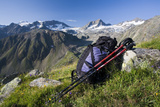 Austria, Tyrol, Stubai Alps, Traveling-Equipment, Mountain Scenery Photographic Print by Rainer Mirau